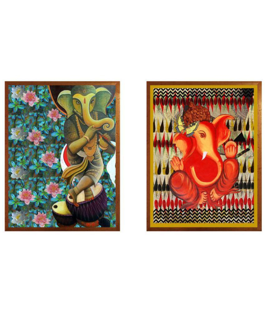 Antaram Designs Ganesh Wall Art Canvas Painting With Frame 2 combination
