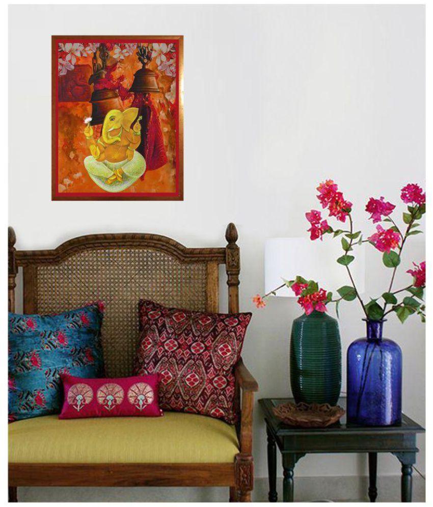Antaram designs ganesh wall art canvas painting with frame single piece