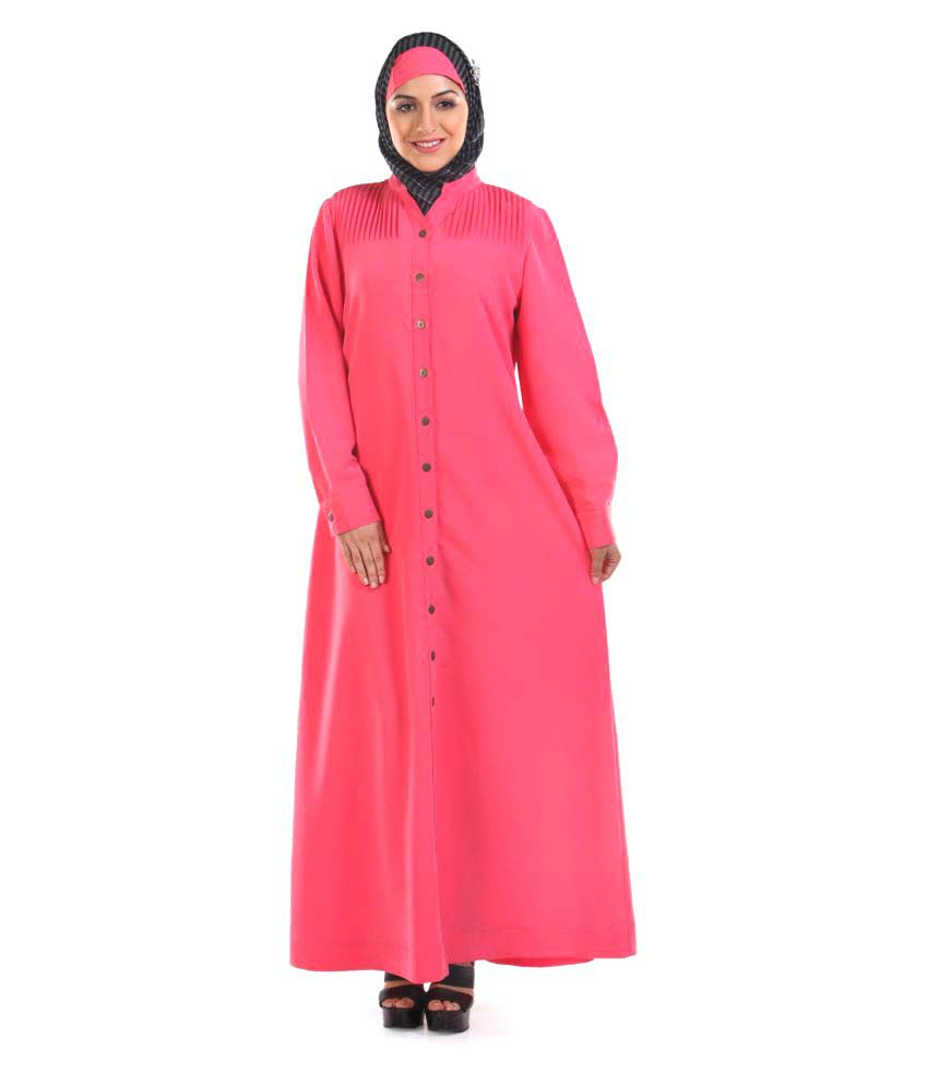Momin Libas Pink Polyester Stitched Burqas without Hijab