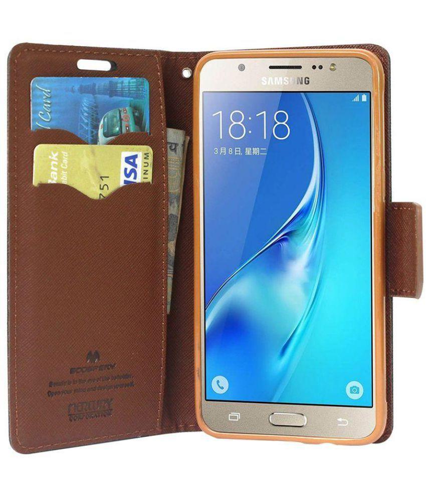 Samsung Galaxu J Flip Cover by Brand Fuson - Brown