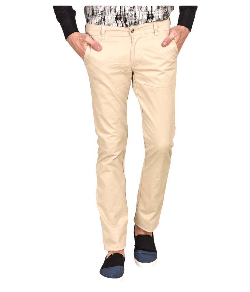 Ruace Beige Slim Pleated Trouser