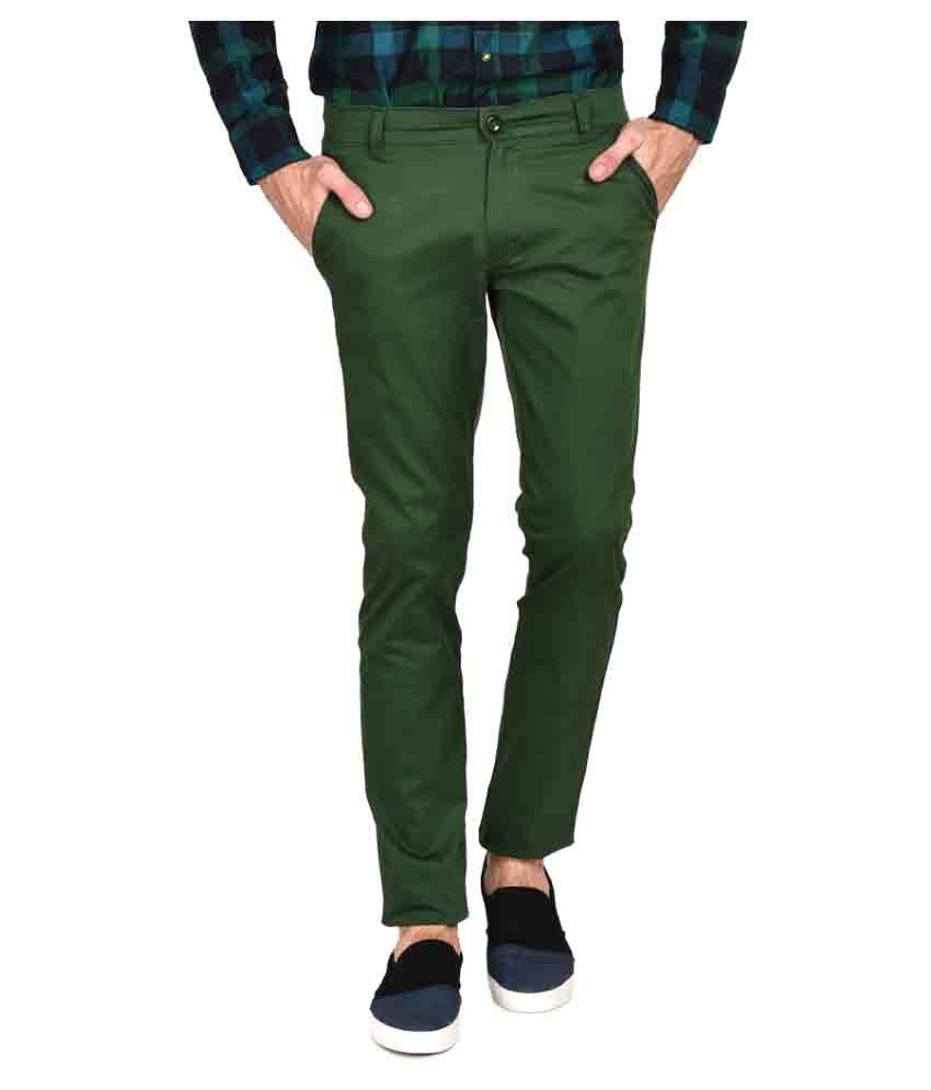 Ruace Light Green Slim Pleated Trouser