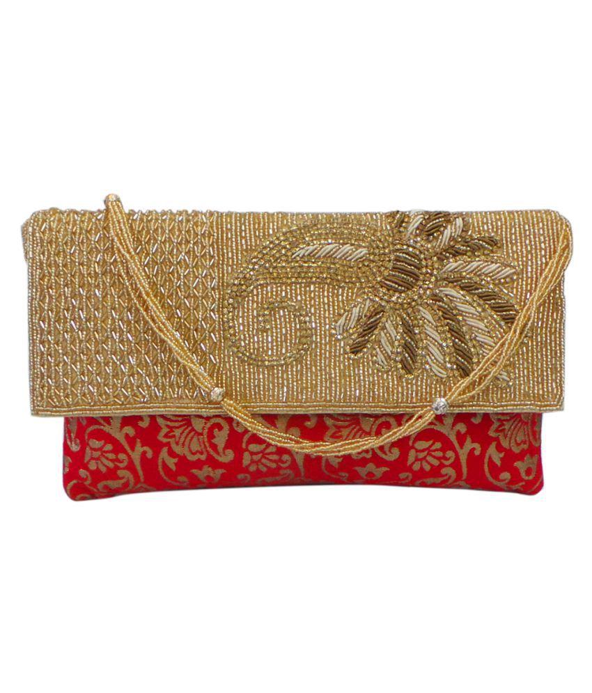 Vardhini Red Fabric Box Clutch
