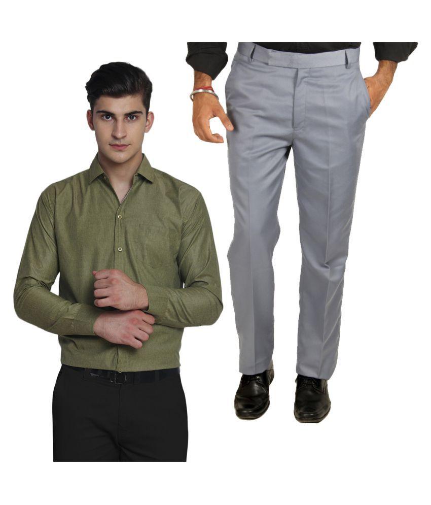 Van Galis Multi Regular Pleated Trouser with Shirt