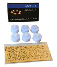 Whitepavo Yellow Flame With Golden Yellow OM Designer Paper Votive Wraps LED T-lite White 6