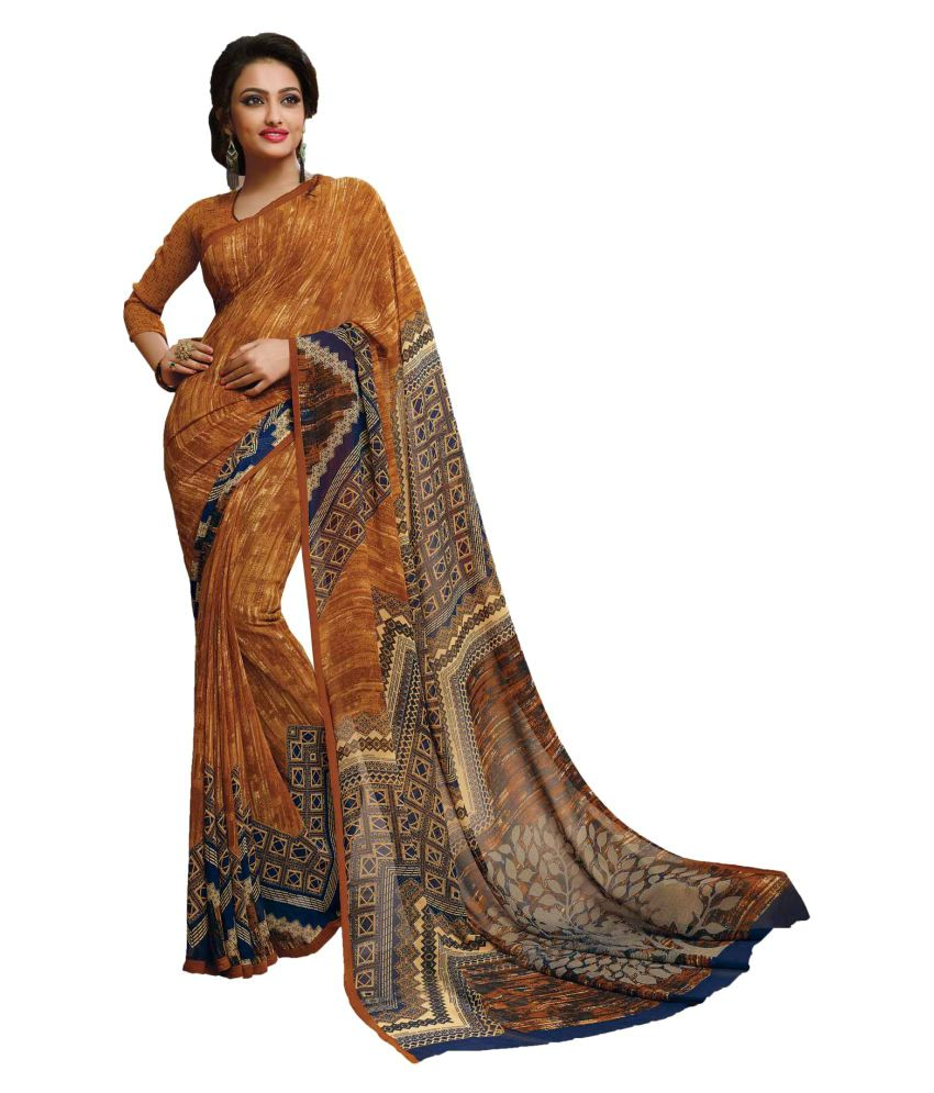 Sudarshan Silk Brown Crepe Saree