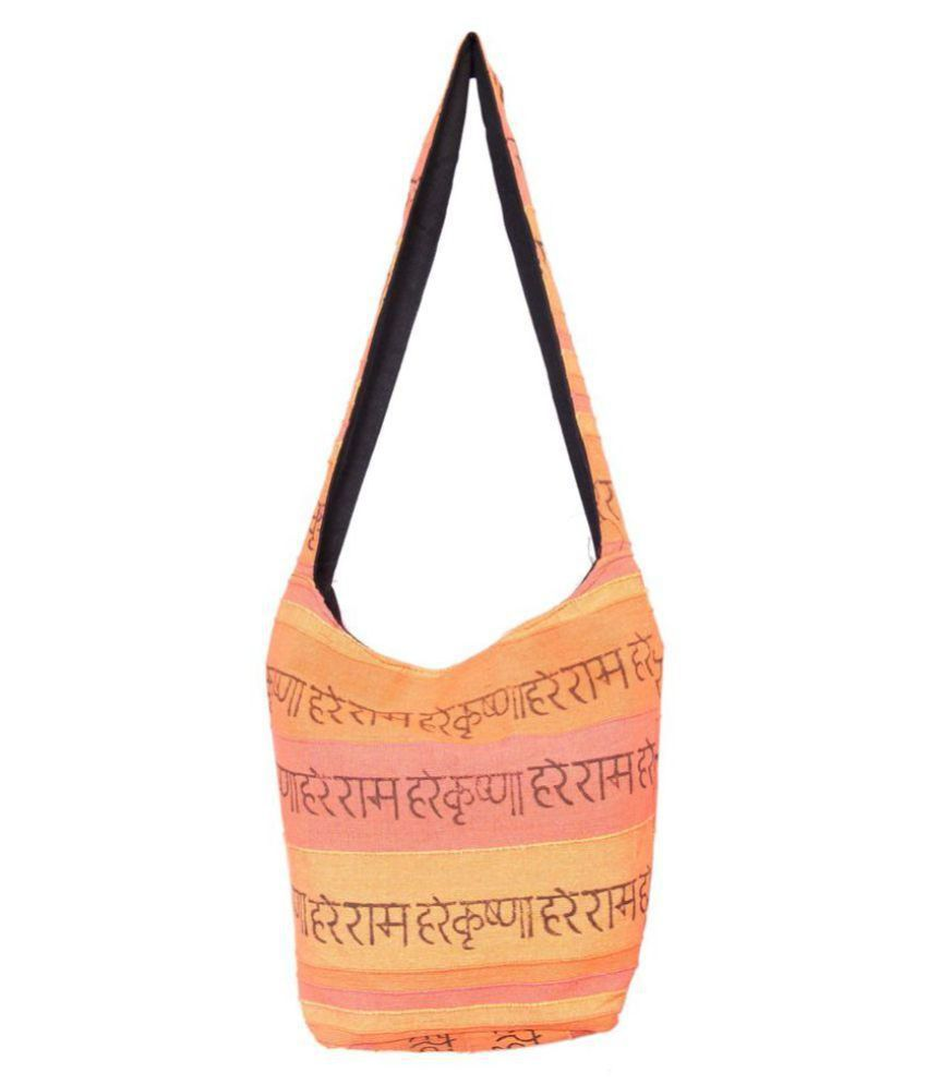Jaipuriart Orange Cotton Jhola