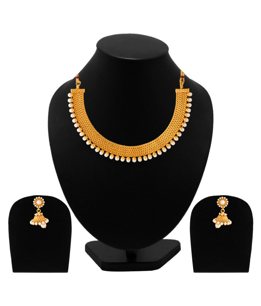 Golden Alloy Traditional Gold Plated Necklace Set with Earrings