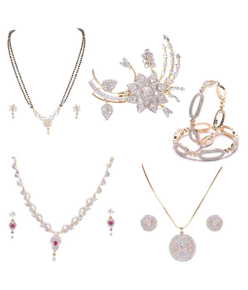 Manikya White Necklace Set Combo