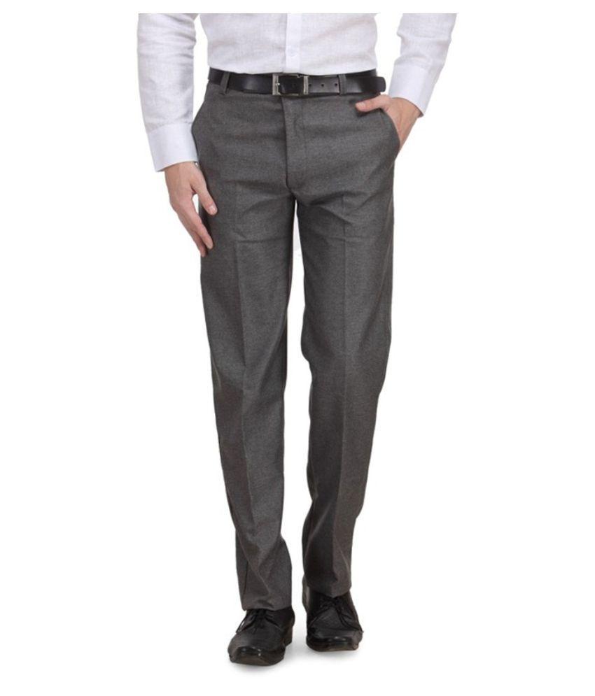 Renzo Grey Regular Flat Trouser