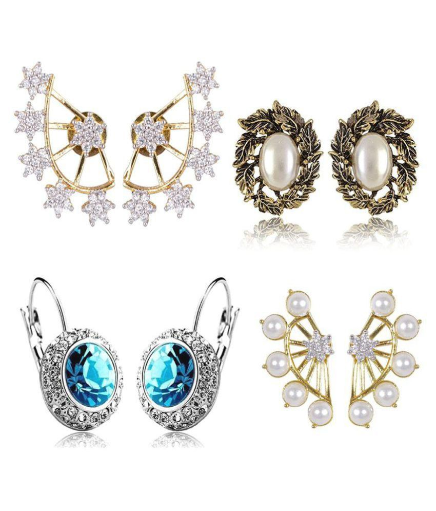 Cinderella Gold-Plated Ear Cuffs Earrings For Women/Girls ,Combo Of 4