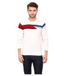 Duke White Round Neck Sweater