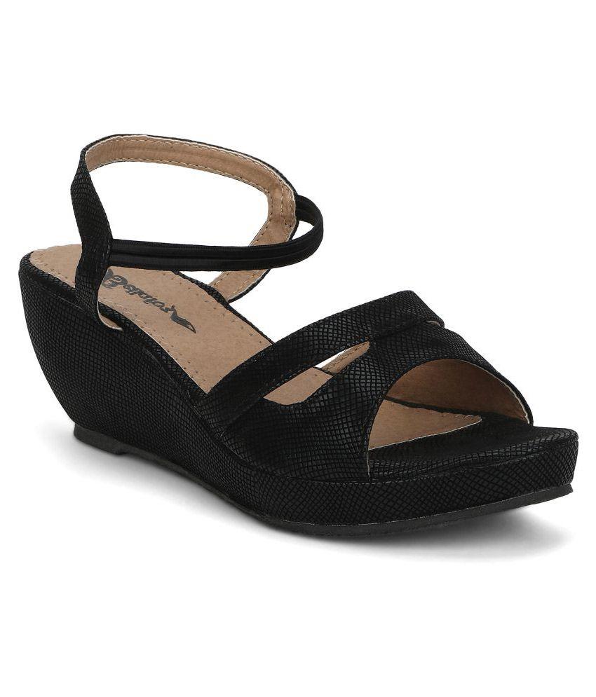 Bellafoz Black Wedges Heels