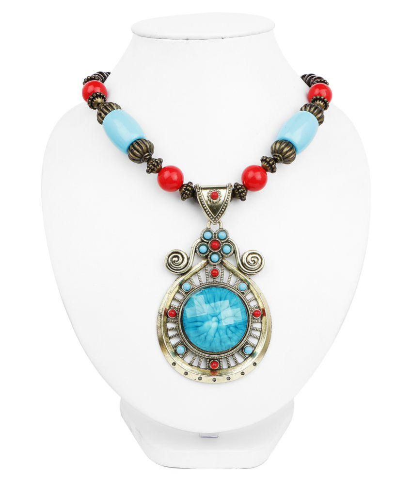 Johareez Oxidized Gold Plated Tribal Style Multicolor Beaded Fashion Necklace for Women