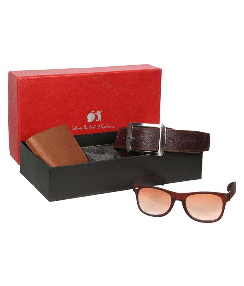 Mango People Combo of Brown Leather Casual Belt,Wallet and Sunglass for Men's