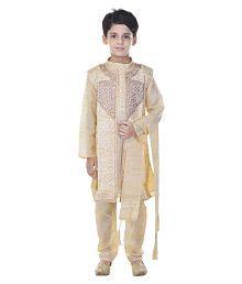 Cotton Silk Sherwani with Kurta Pajama Set