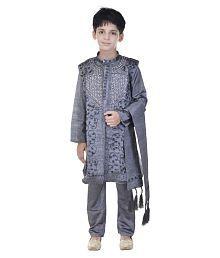 Rajasthani Sarees Gray Sherwani with Kurta Pajama Set
