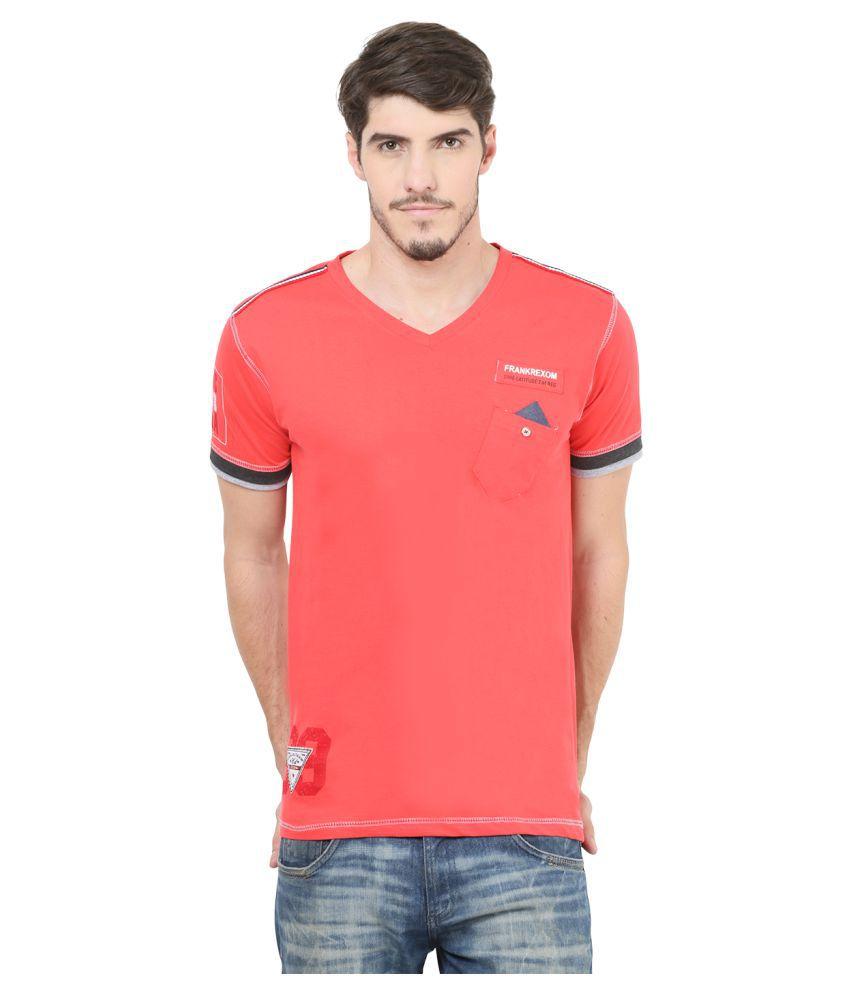 Mode Vetements Pink V-Neck T-Shirt
