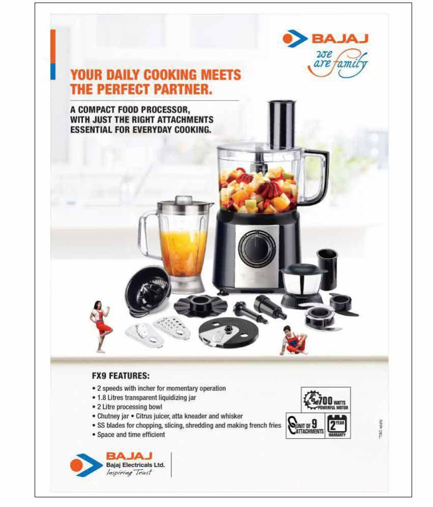 bajaj majesty fx9 food processor 700 w food processor price in india rh snapdeal com
