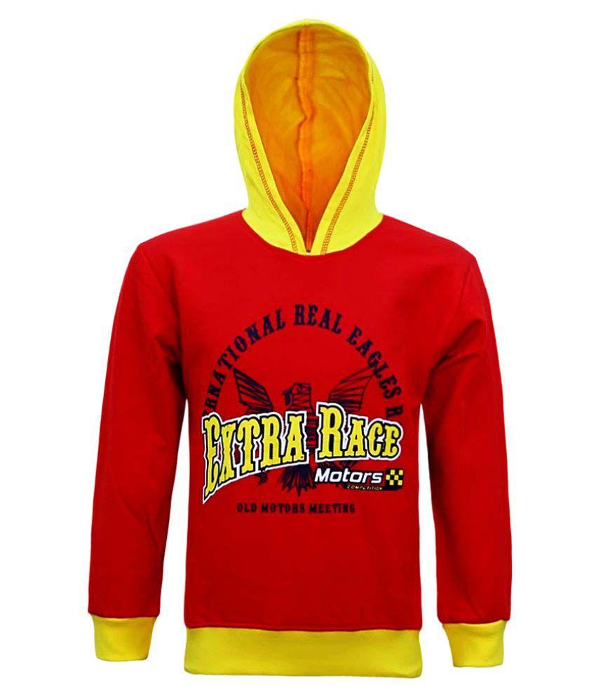 Kothari Boys Red Hooded Sweatshirt Pack of 1