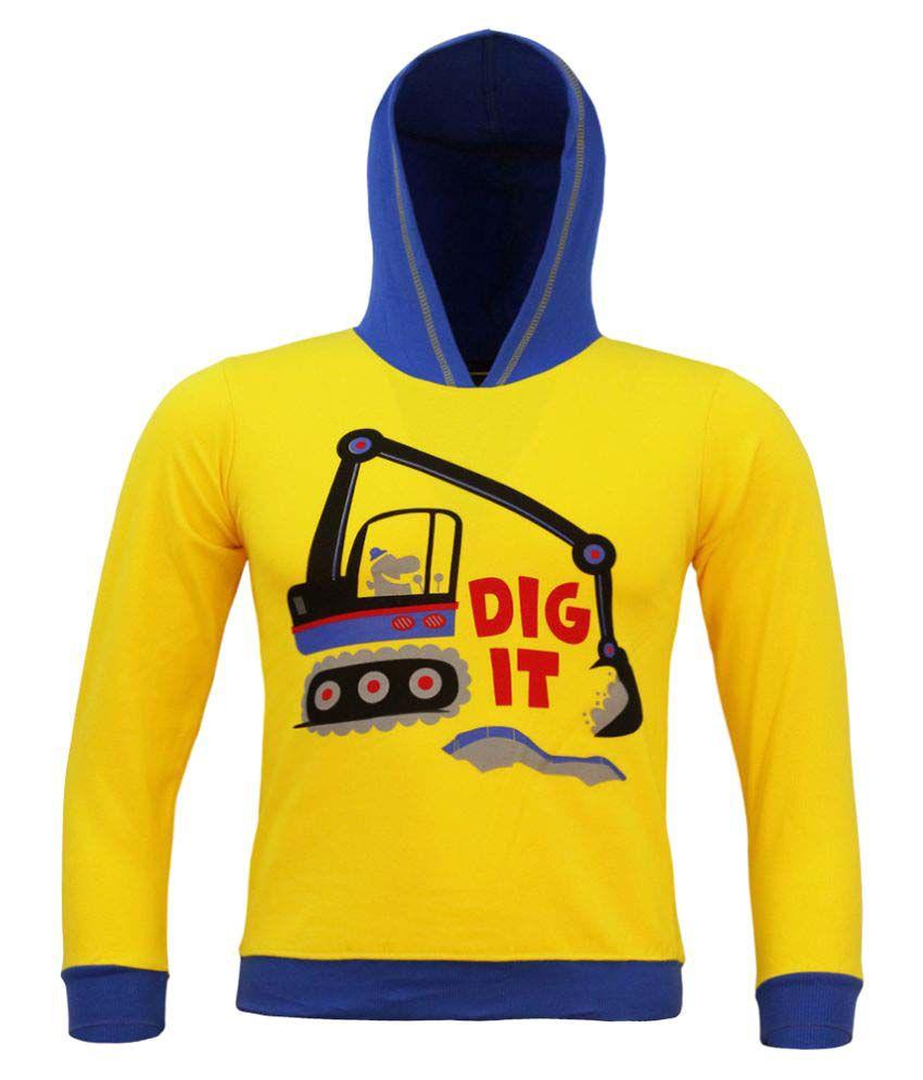 Kothari Boys Yellow Hooded Sweatshirt Pack of 1