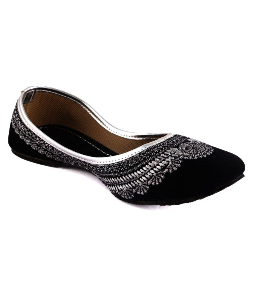 Traditional Collection Black Flat Ethnic Footwear