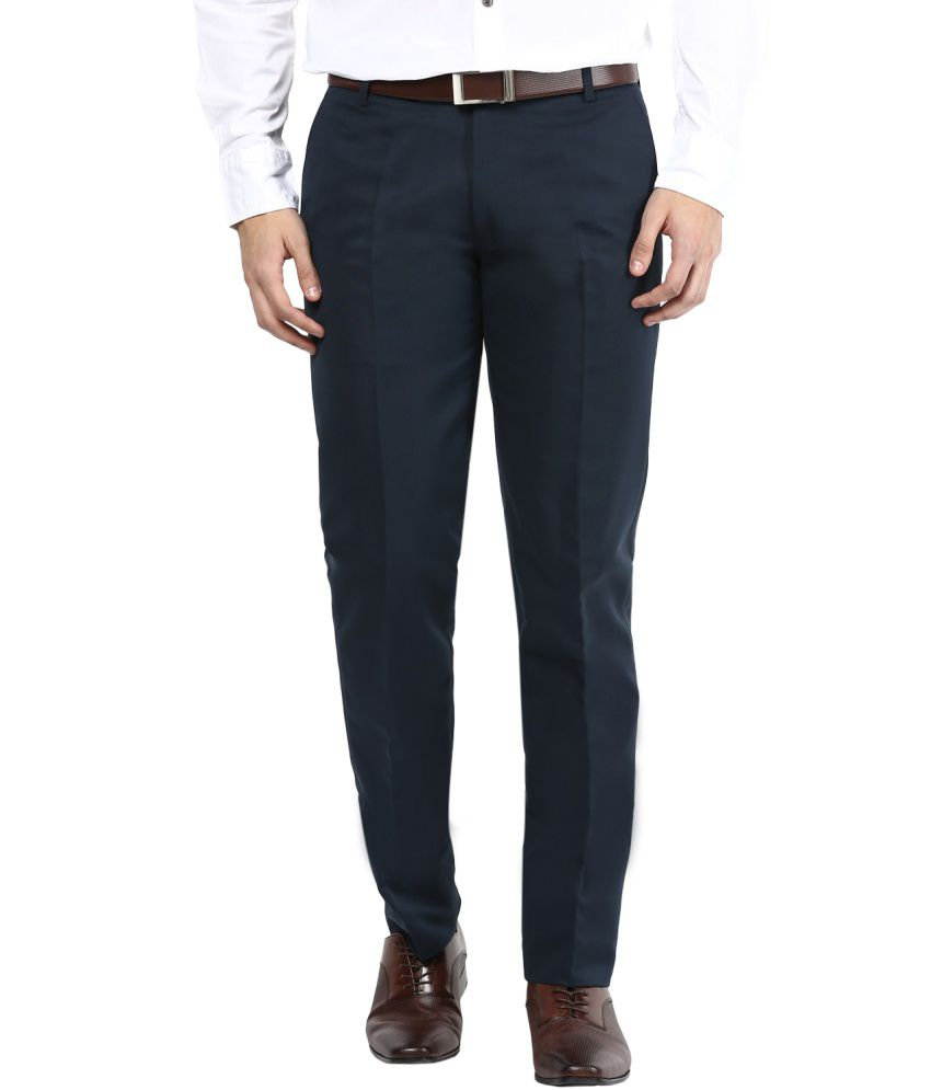 Bukkl Blue Slim Fit Flat Trousers