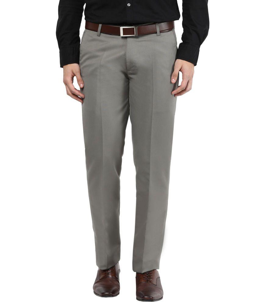 BUKKL Grey Slim Flat Trouser