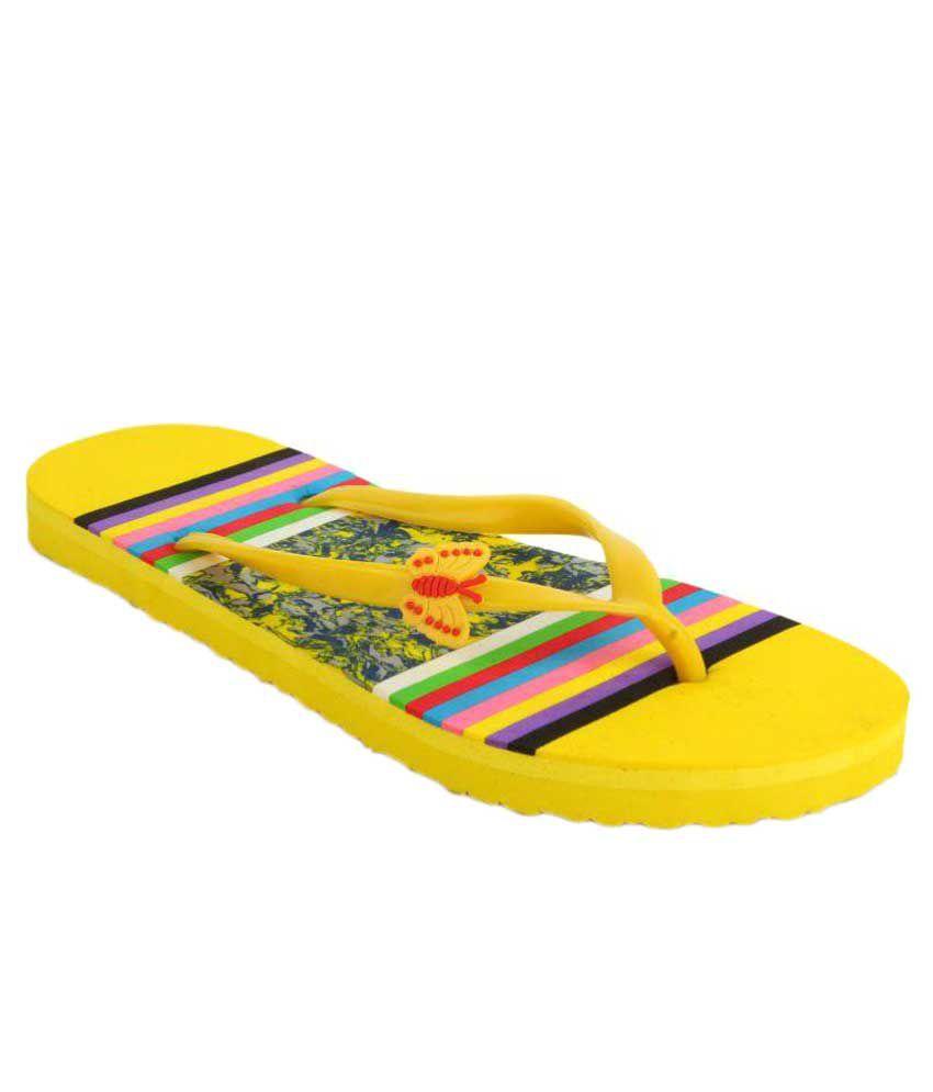 Shoez Hub Yellow Slippers
