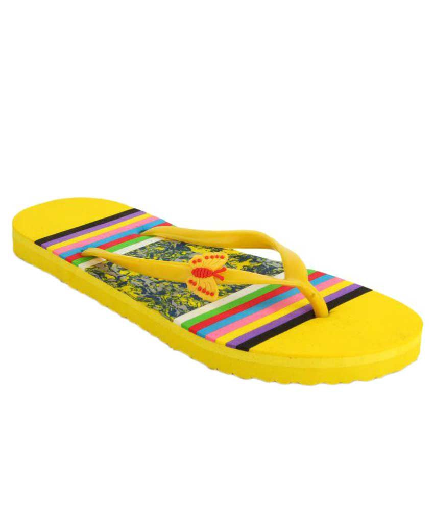 Shoez Hub Yellow Slippers