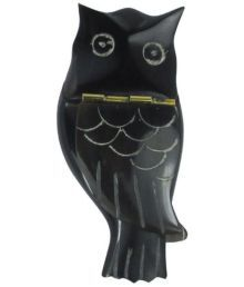 Prakrita Handicraft Owl Shaped Sindoor Box Made Of Buffalo Horn