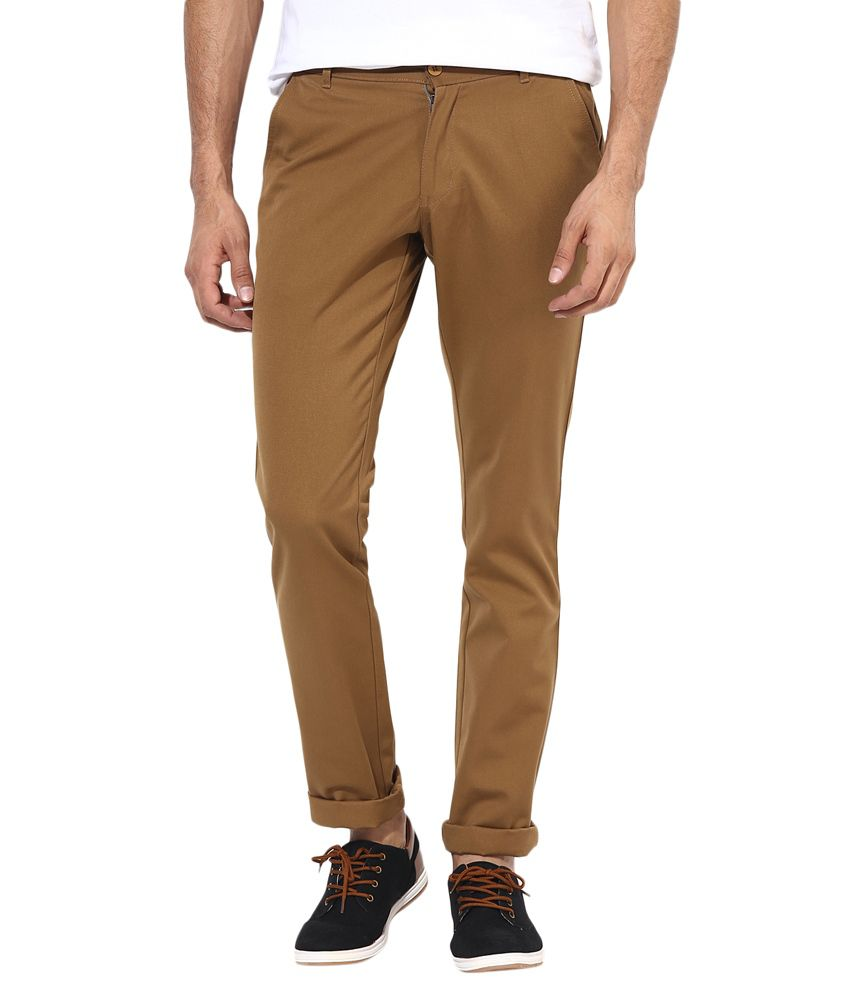 BUKKL Brown Slim Fit Casual Chinos