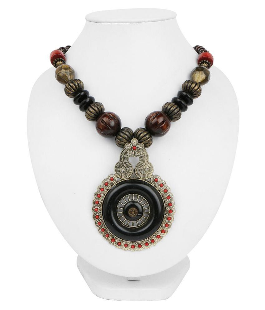 Johareez Oxidized Gold Plated Tribal Style Multi Beaded Fashion Necklace for Women