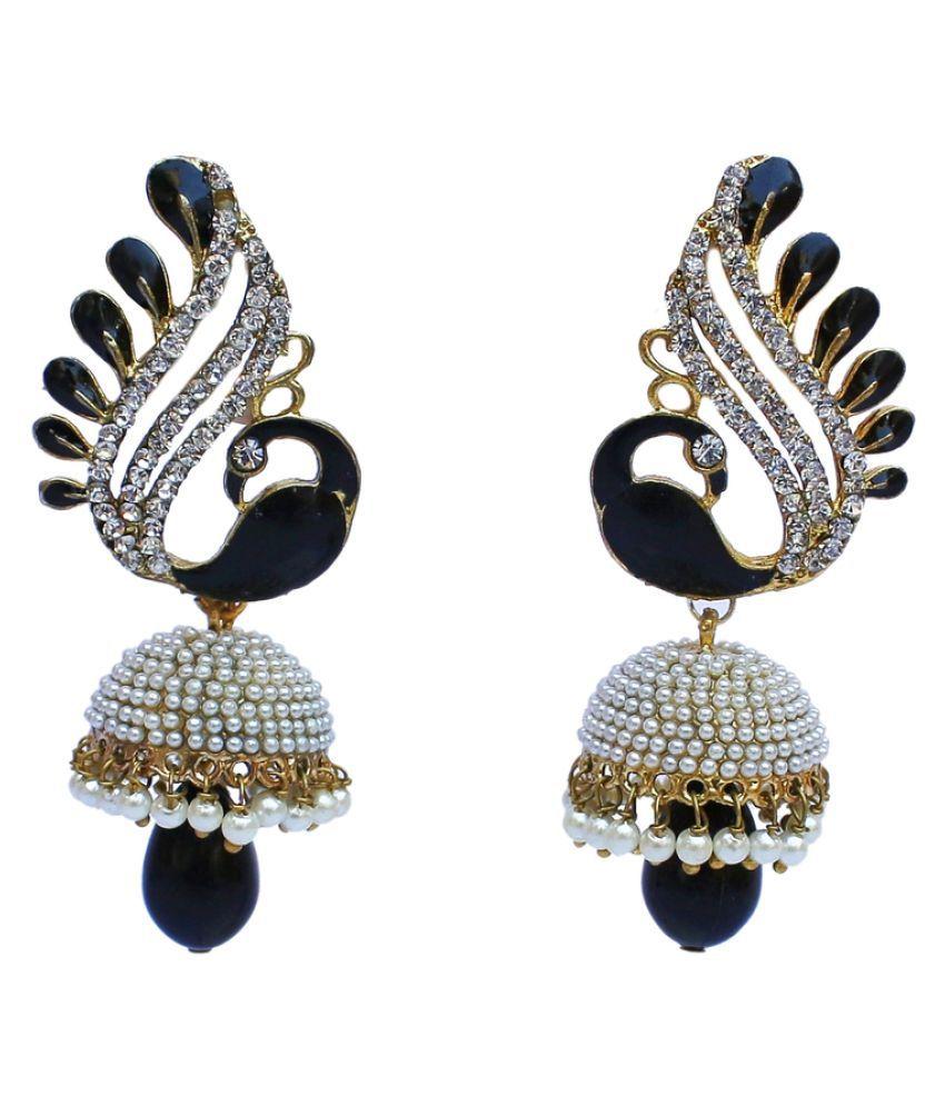 Black Designer partywear Peacock Jhumki