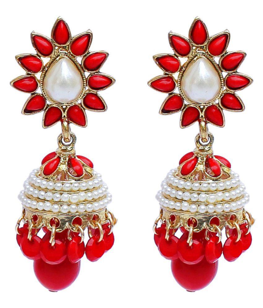 Red Designer Partywear Jhumki