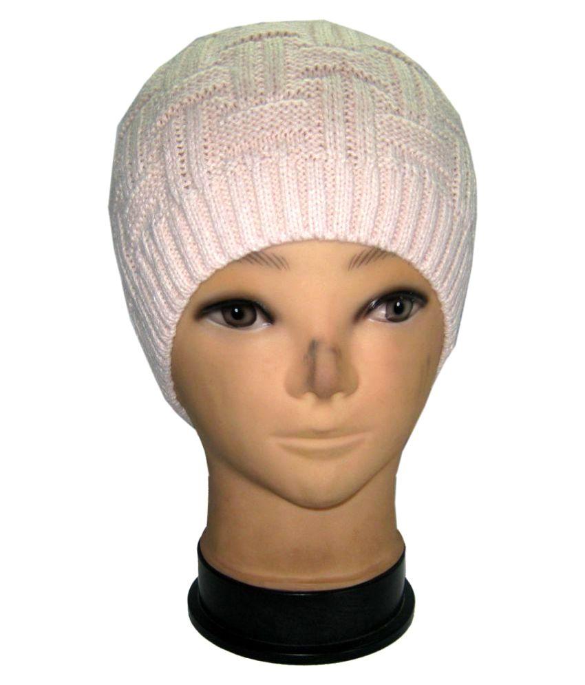 Goodluck Beige Plain Wool Caps