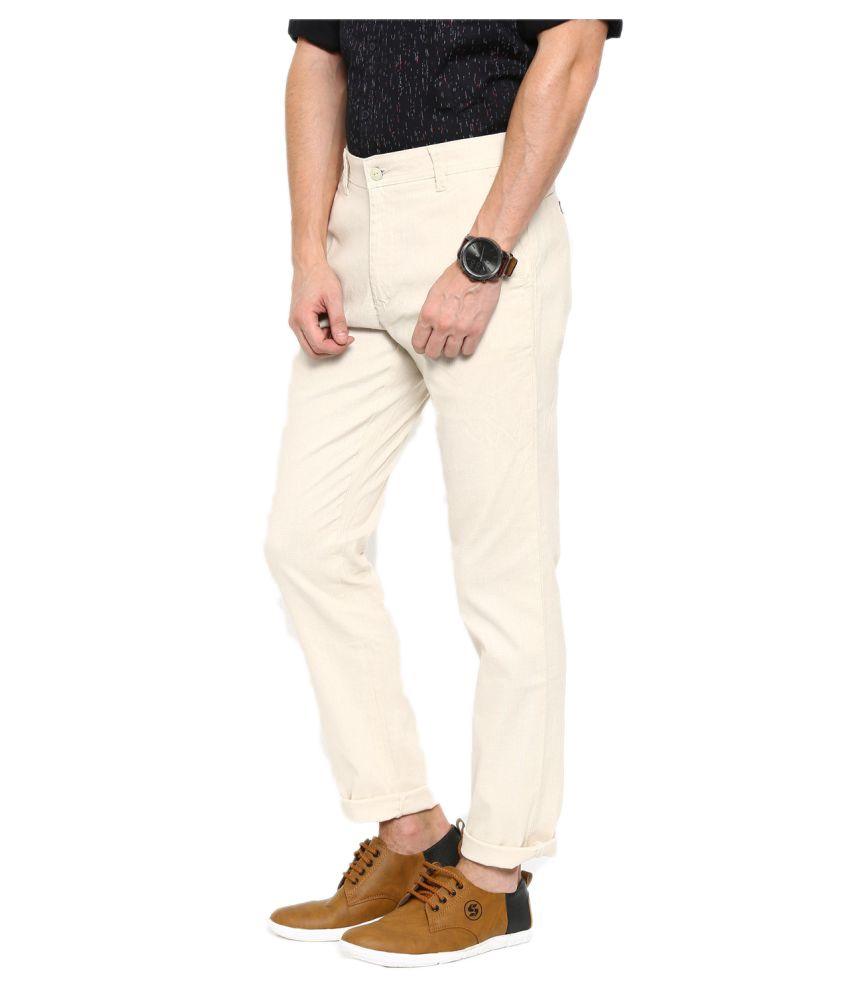 Oshano White Regular Flat Trouser