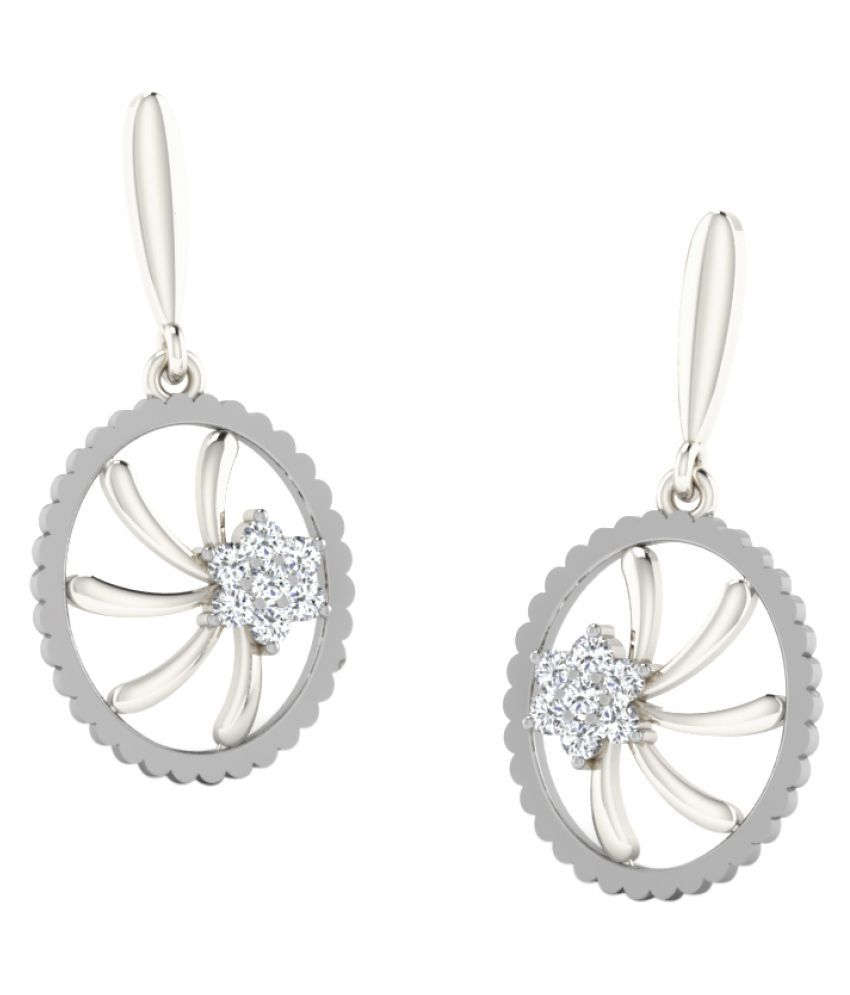 Sparkles 9K White Gold Diamond Drop Earrings