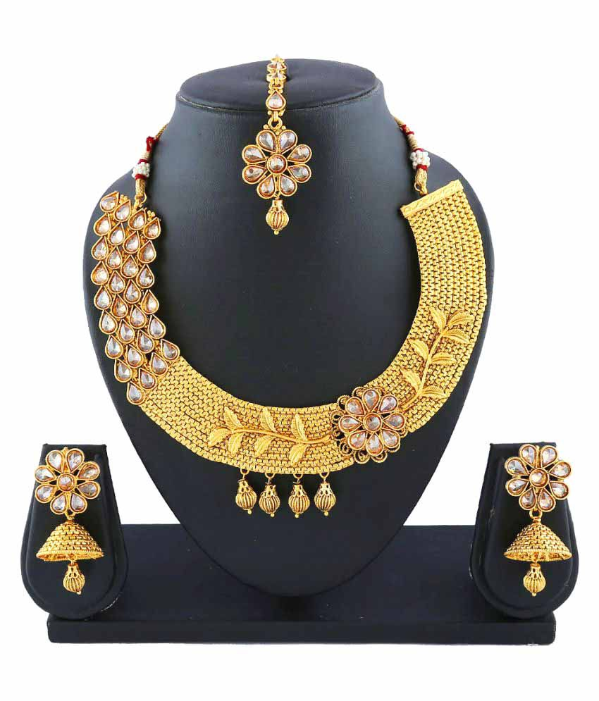 b33e47956 Anuradha Art Golden Alloy Traditional Necklace Set With Mangtika For Women  - Buy Anuradha Art Golden Alloy Traditional Necklace Set With Mangtika For  Women ...