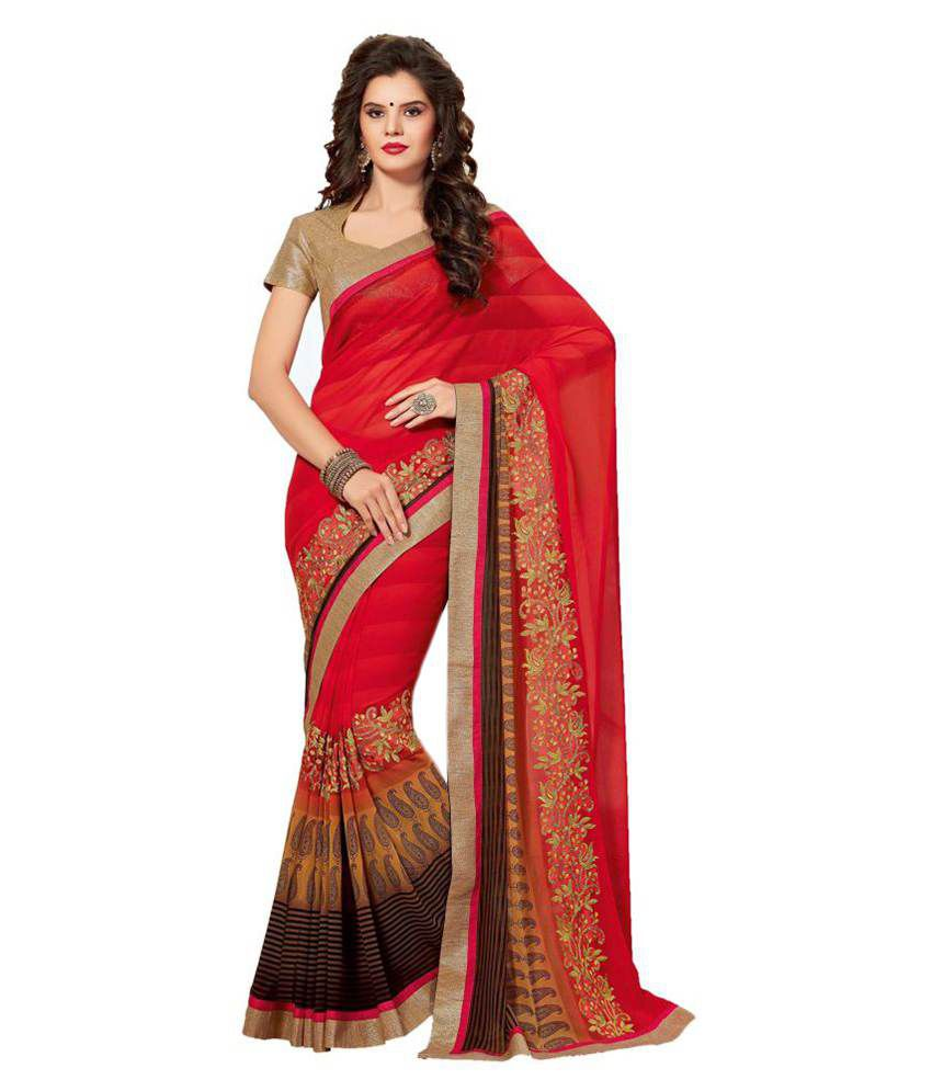 Sudarshan Silks Red Chiffon Saree