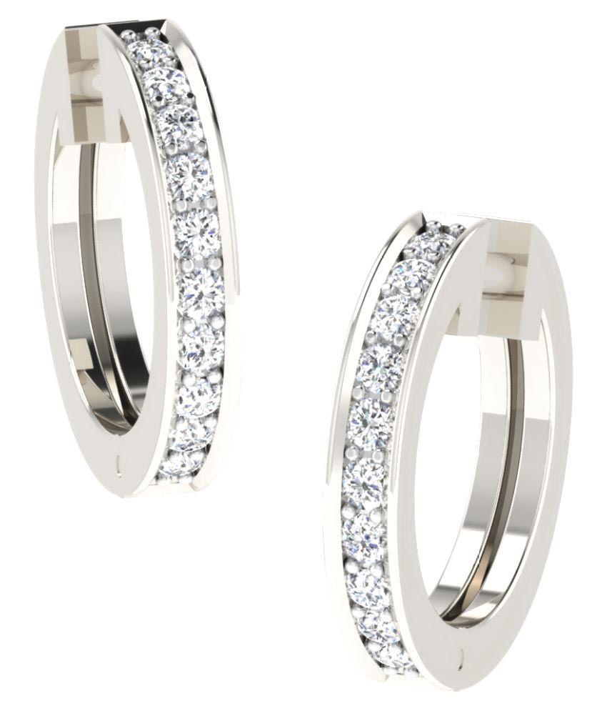 His & Her 18K White Gold Diamond Huggies