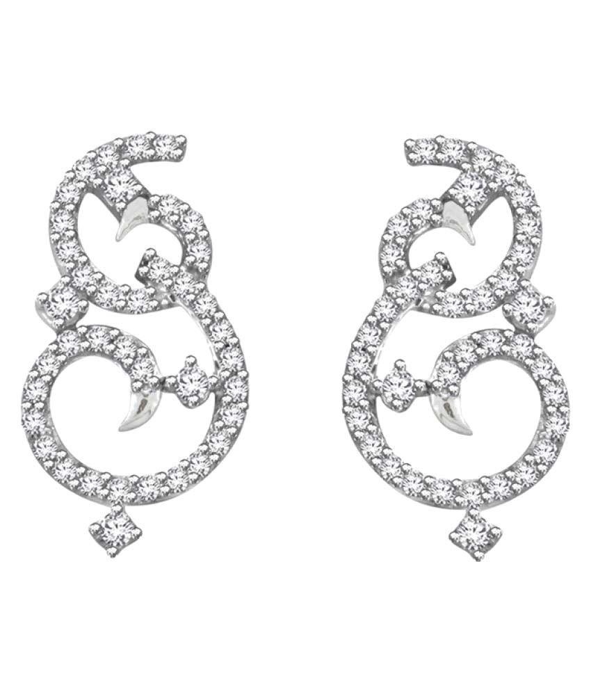 His & Her 18K White Gold Diamond Drop Earrings