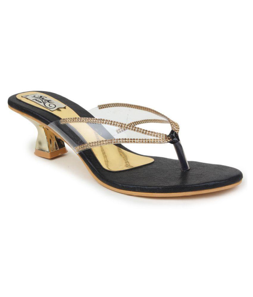 Sindhi Footwear Gold Kitten Heels