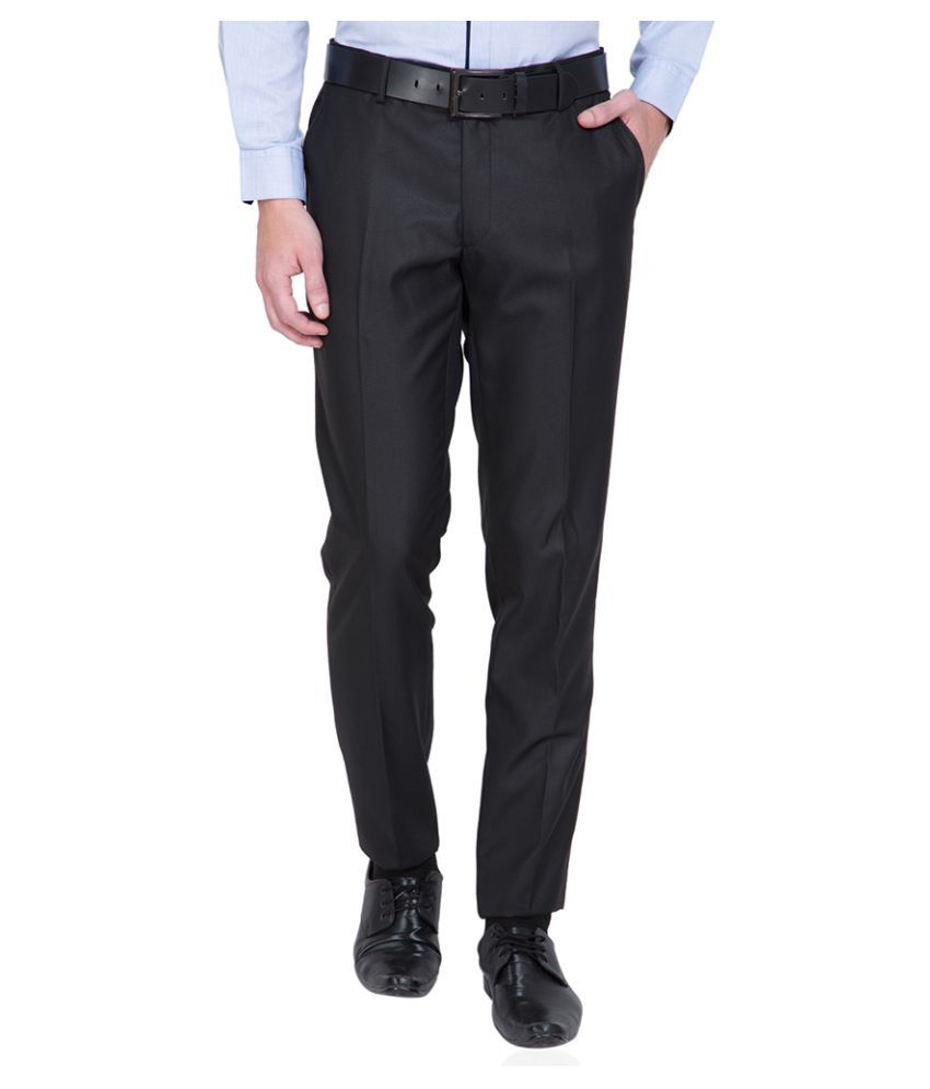 Black Coffee Black Tapered Flat Trouser