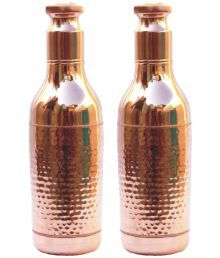 Veda Home & Lifestyle Veda Copper Bottles Brown 2400 Fridge Bottle Set Of 2