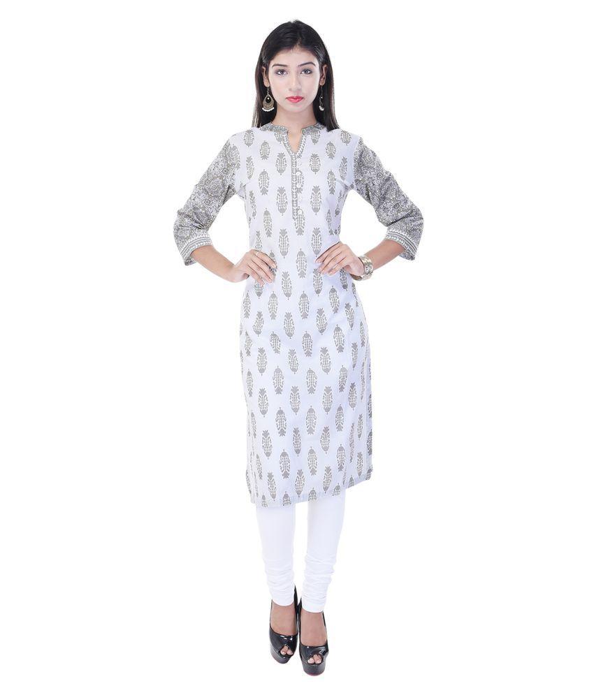 Gaura White Cotton Straight Kurti