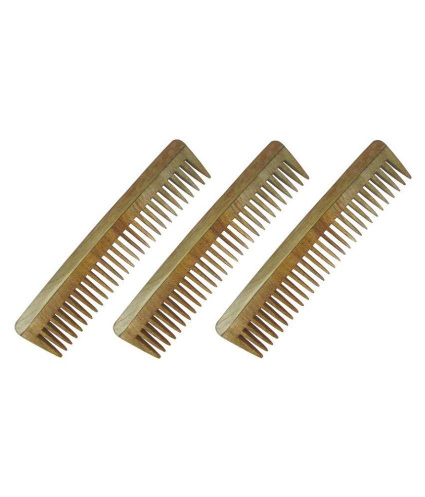 Prakrita Neem Wooden Wide tooth Comb Pack of 3