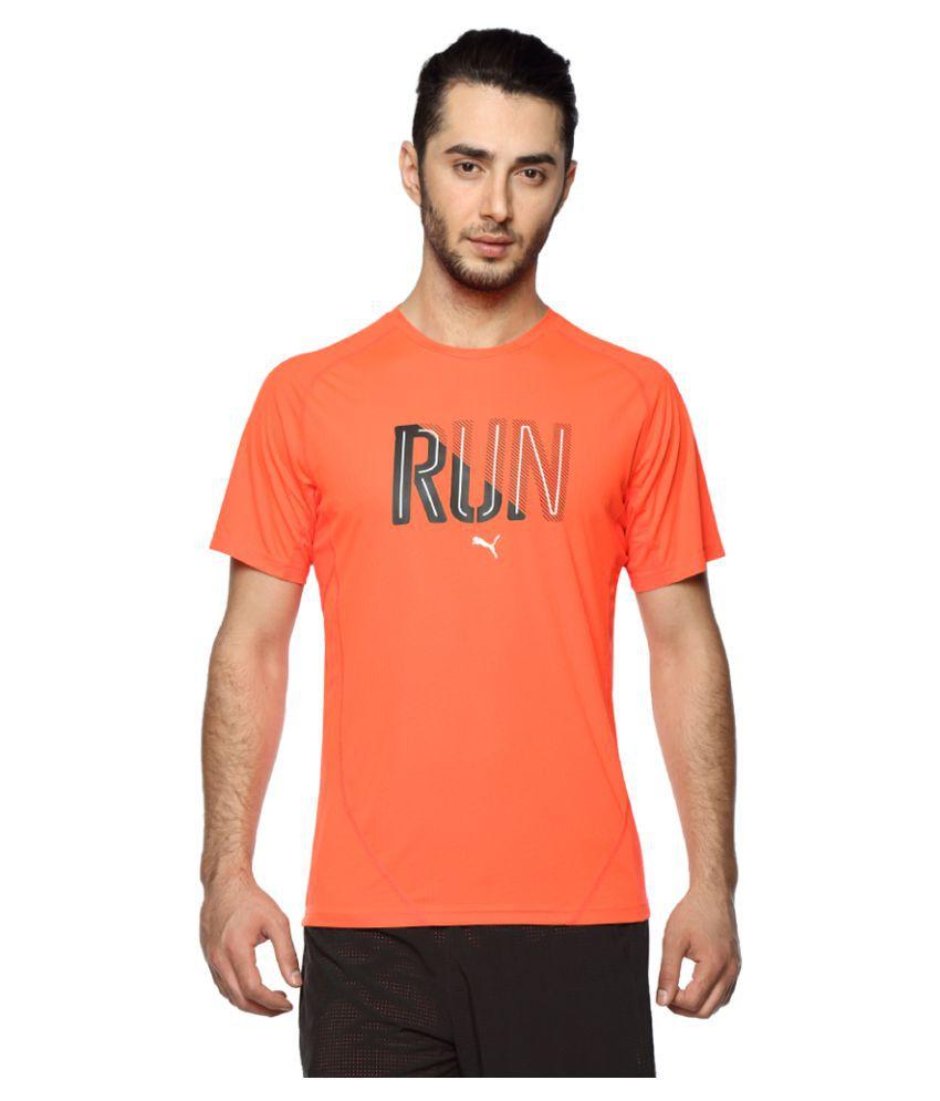 Puma Orange Polyester T-Shirt Single Pack