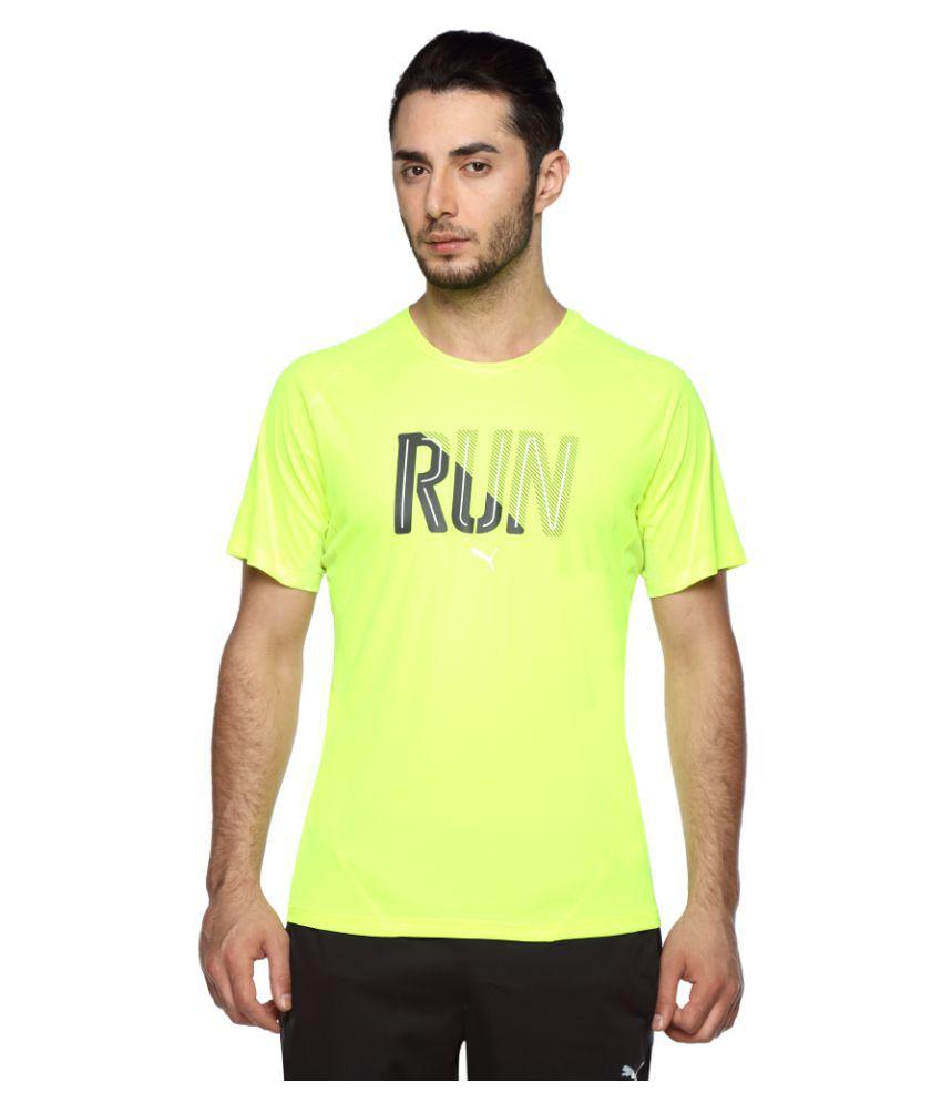 Puma yellow Polyester T-Shirt Single Pack