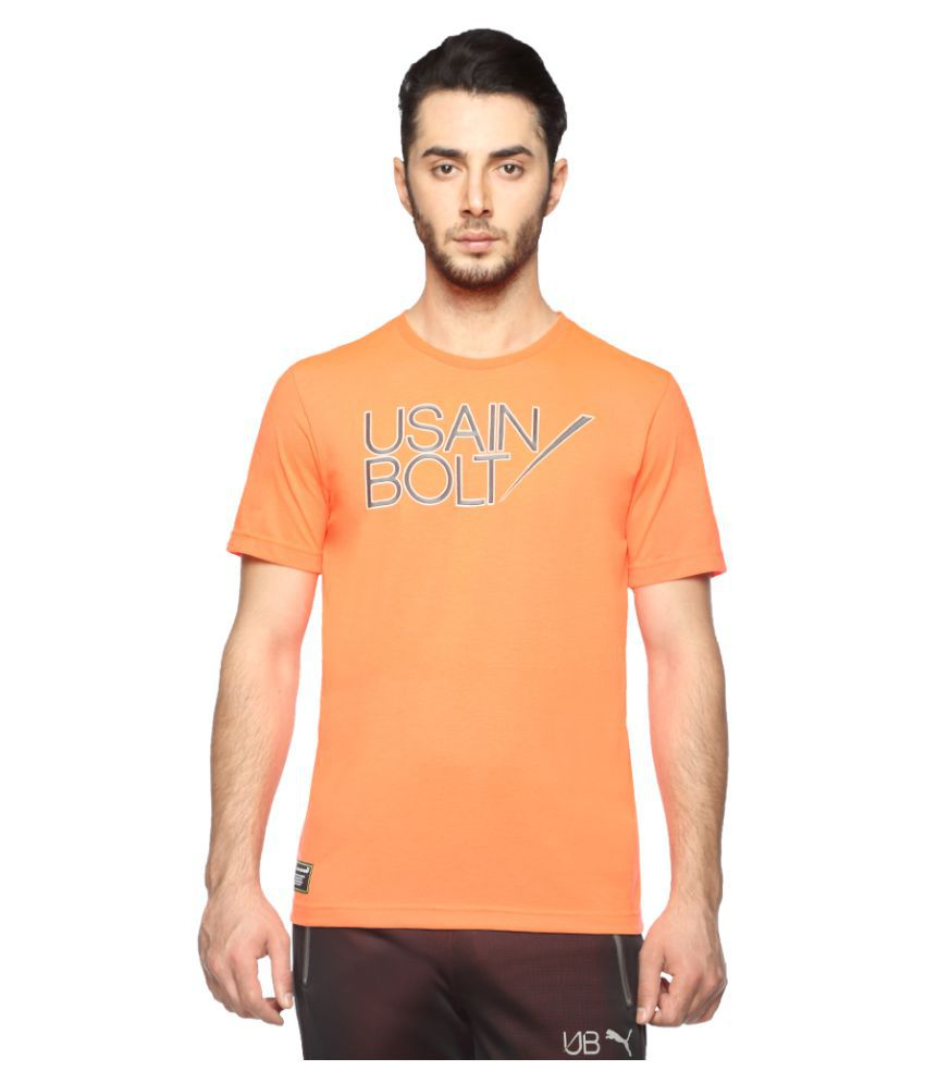 Puma Orange Polyester T-Shirt Single Pack